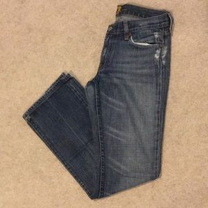 74AMK Distressed Blue Boot Cut Jeans